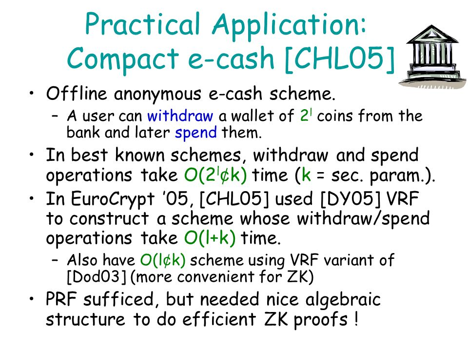 Practical Application: Compact e-cash [CHL05]